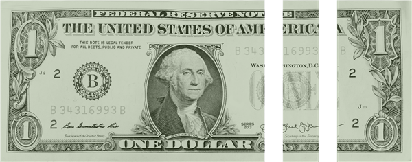 A dollar, divided into three parts.